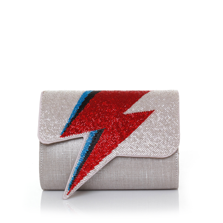 Bowie Red On Silver Clutch