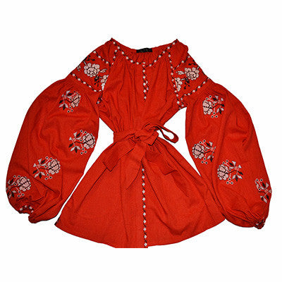 Red Embroidered Bohemian Blouse