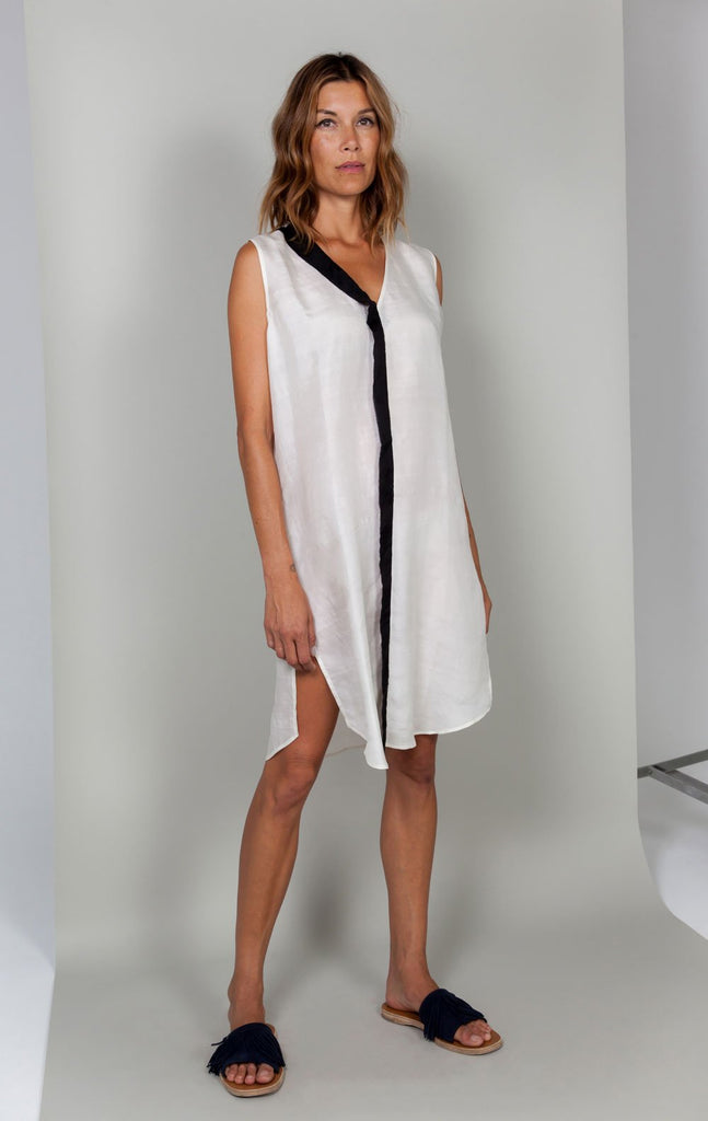 White Silk Tunic Dress with Black Border
