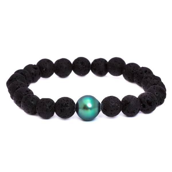Black Single Pearl Lava Bead Stretch Bracelet