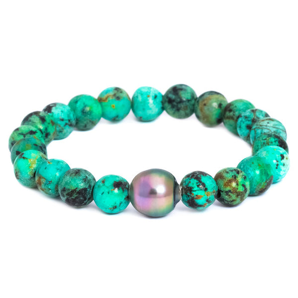 Pearl and Turquoise Stretch Bracelet