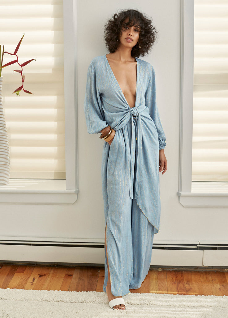 Blue Cotton Sola Coverup Robe