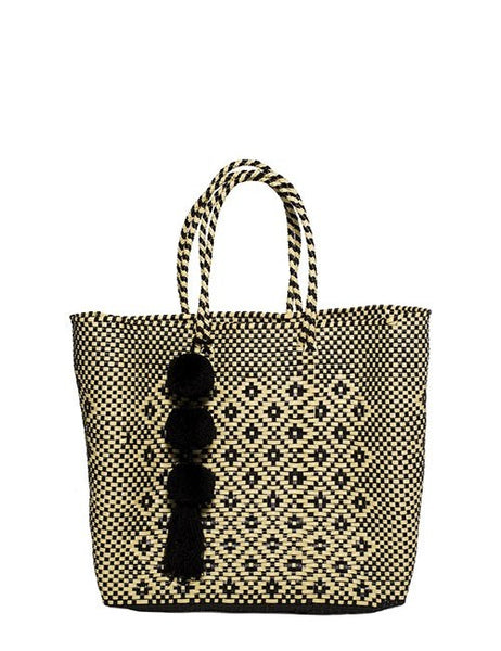 Beige & Black Stella Medium Short Handle Tote