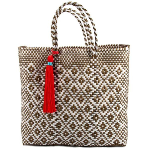 Gold and White Lined Medium Short Handle Tote