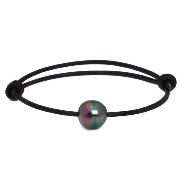 Black Single Pearl Surfer Bracelet