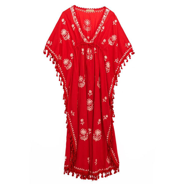 Red Cotton Tassel Caftan