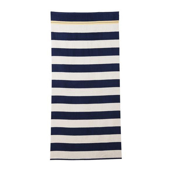 HAREMLIQUE, Navy And White Egyptian Cotton Stripe Beach Towel
