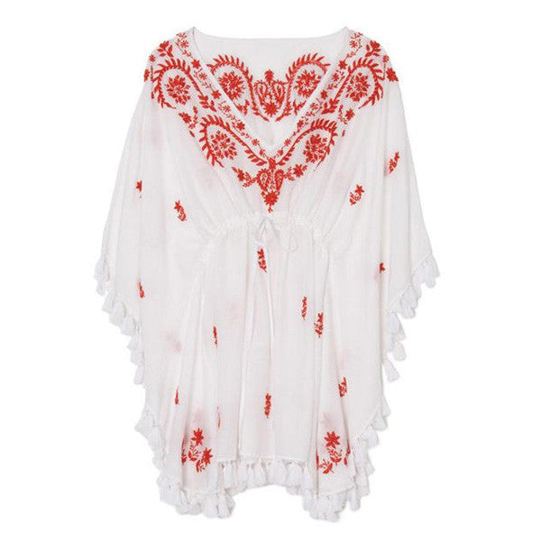 White Cotton Coral Indian Embroidered Tunic