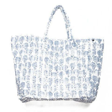 Giant Light Blue Ikat Cotton Beach Bag