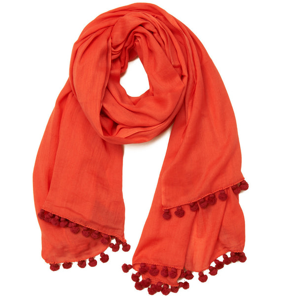 SHOP LATITUDE BAZAAR MUMBAI, Coral Cotton Red Pom Pom Scarf