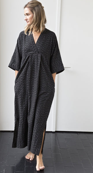 Black Cotton Zermatt Ikat Caftan