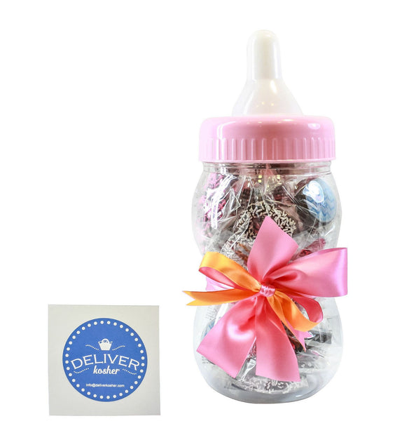 Gourmet Chocolate Covered Pretzel Baby Bottle - Baby Girl - Dark Chocolate