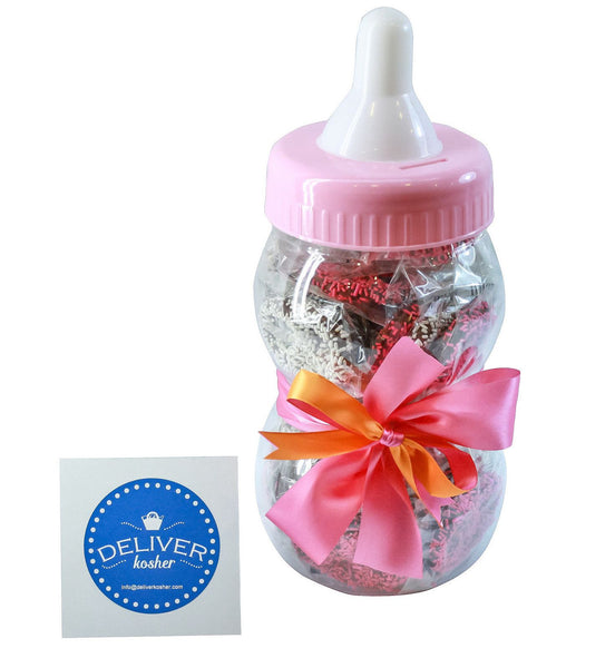 Gourmet Chocolate Covered Pretzel Baby Bottle - Baby Girl - Milk Chocolate
