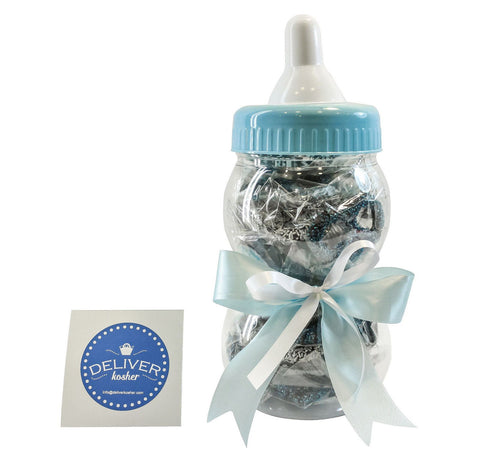 Gourmet Chocolate Covered Pretzel Baby Bottle - Baby Boy - Dark Chocolate