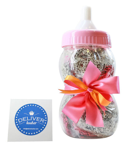 Gourmet Chocolate Covered Pretzel Baby Bottle - Baby Girl - Assorted Chocolate