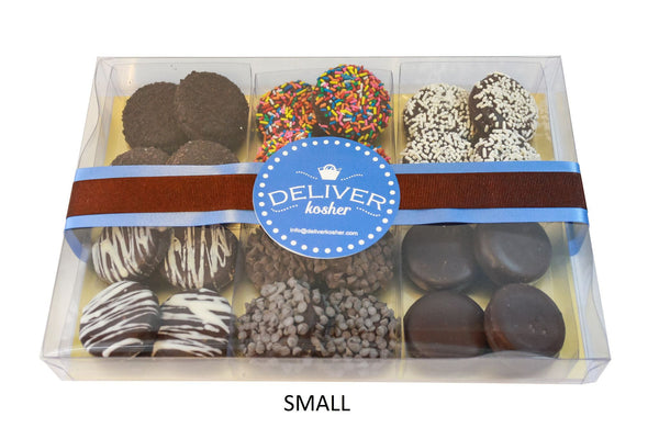 Gourmet Chocolate Covered Cookie Gift Box, Dark Chocolate - Parve