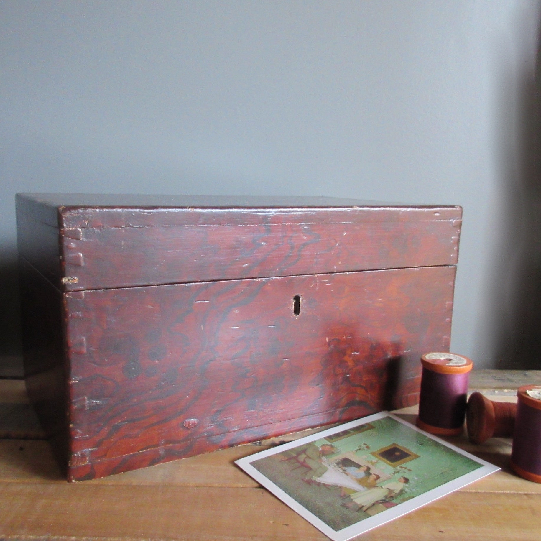 Canadiana 19th Century Box with Putty Grain Paint