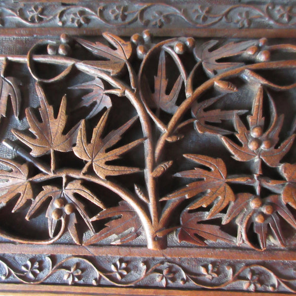 Wooden Carved Relief Jewelry Storage Box