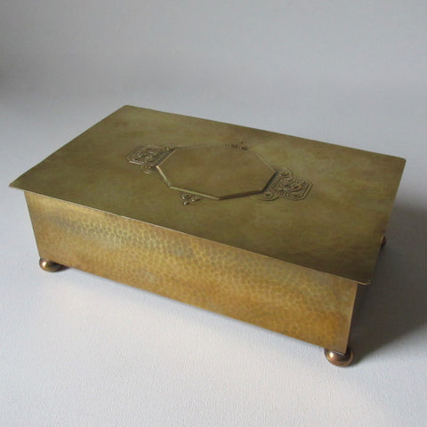 WMF German Hammered Brass Hinged Lid Box