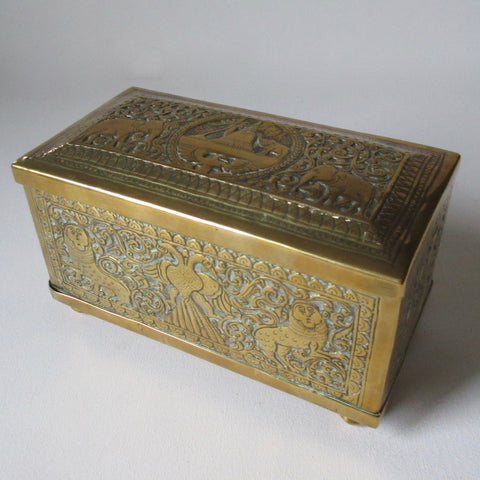 Brass Lidded Repousse Box