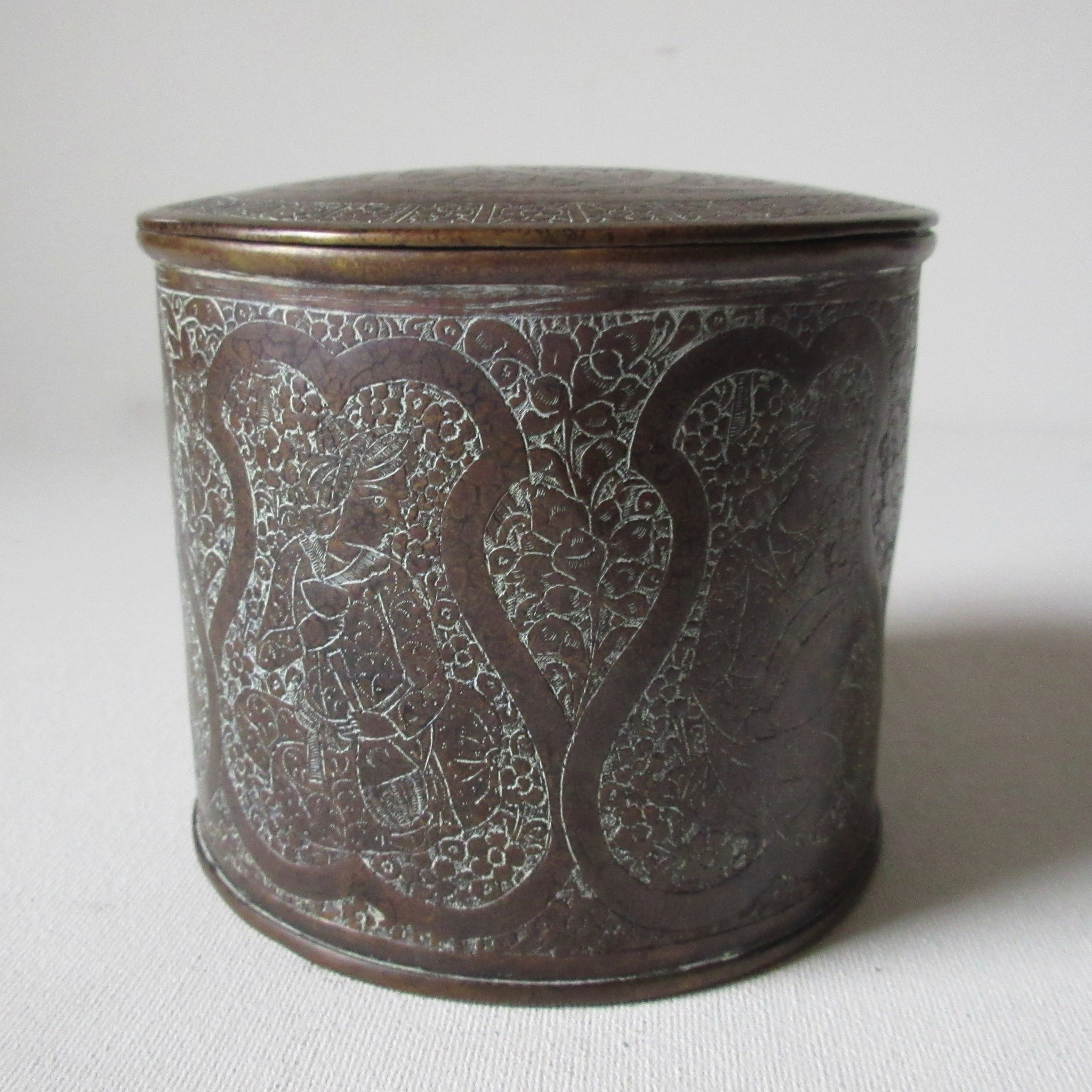 Antique Persian Brass Incised Lidded Box