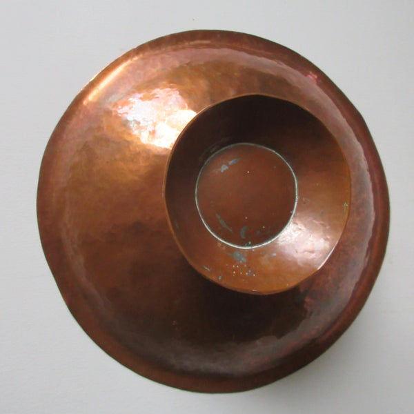 Hammered Copper Footed Bowl