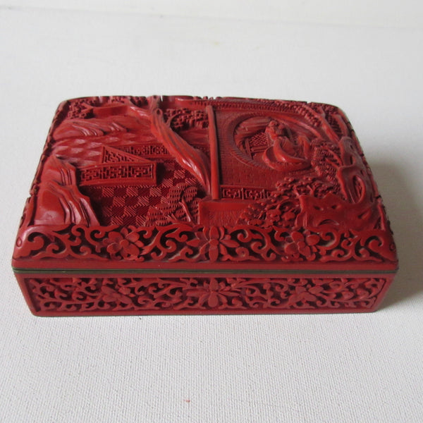 Vintage Cinnabar with Enamel Box