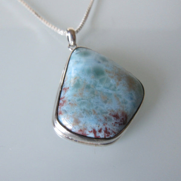 Contemporary Turquoise Pendant & Sterling Silver Chain 18