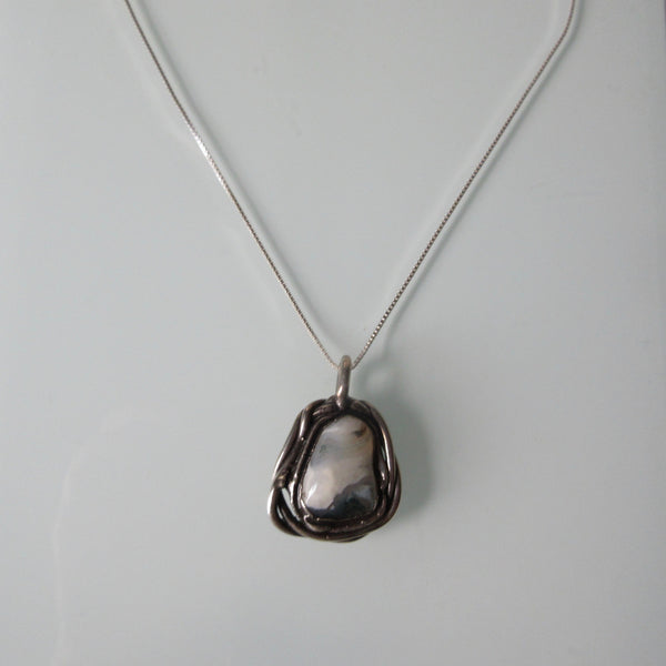 Organic Stone Pendant on Sterling Silver Chain 18""