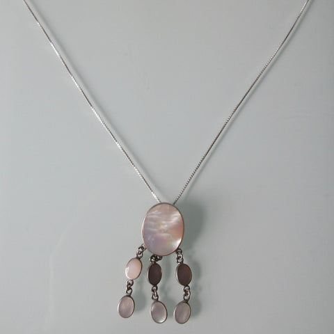 Mother of Pearl Pendant on Sterling Silver Chain 20""