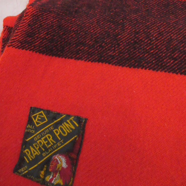 Vintage Wool Blanket Trapper Point Blanket Red