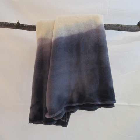Dip Dyed Wool Blanket Gray