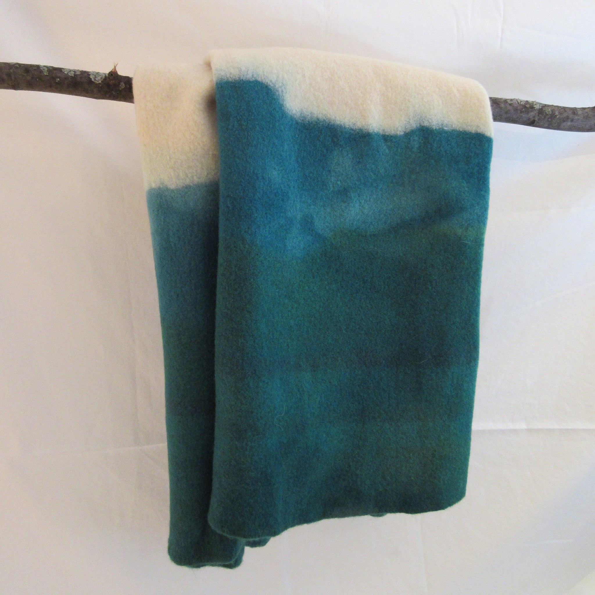 Dip dyed wool blanket