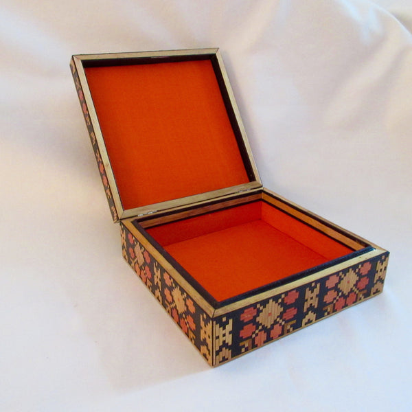 Vintage Russian Folk Art lined Straw Box