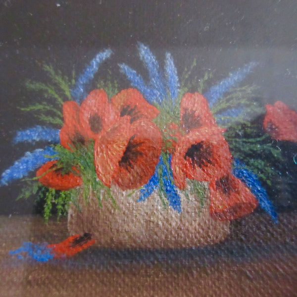 Miniature Poppy Oil Painting