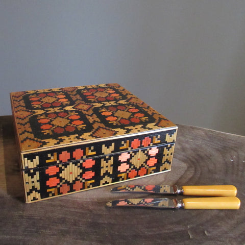 Vintage Russian Folk Art Straw Box