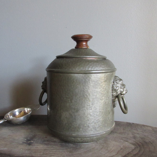 Vintage Pewter lidded Tea Caddy