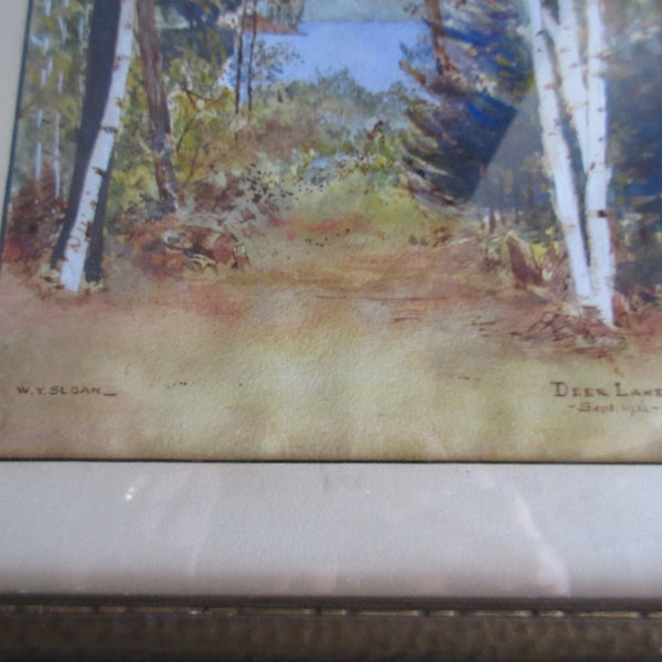 Water Colour Deer Lake Landscape