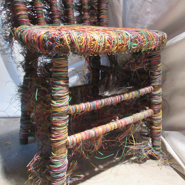 Chair Art  Found Chair and Telephone Wire