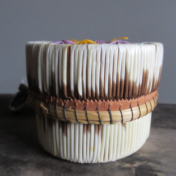 Birch Bark Porcupine Quill & Sweet grass Lidded Box