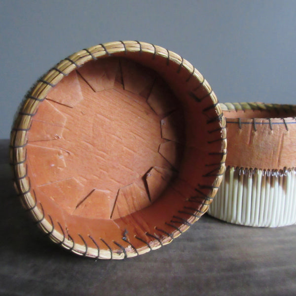 Canadian Birch Bark Porcupine Quill & Sweet grass Lidded Box