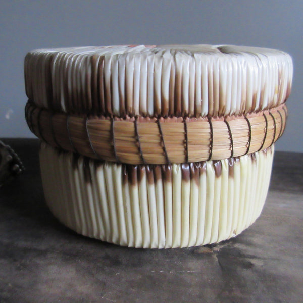 Canadian Birch Bark Porcupine Quills & Sweetgrass Round Container