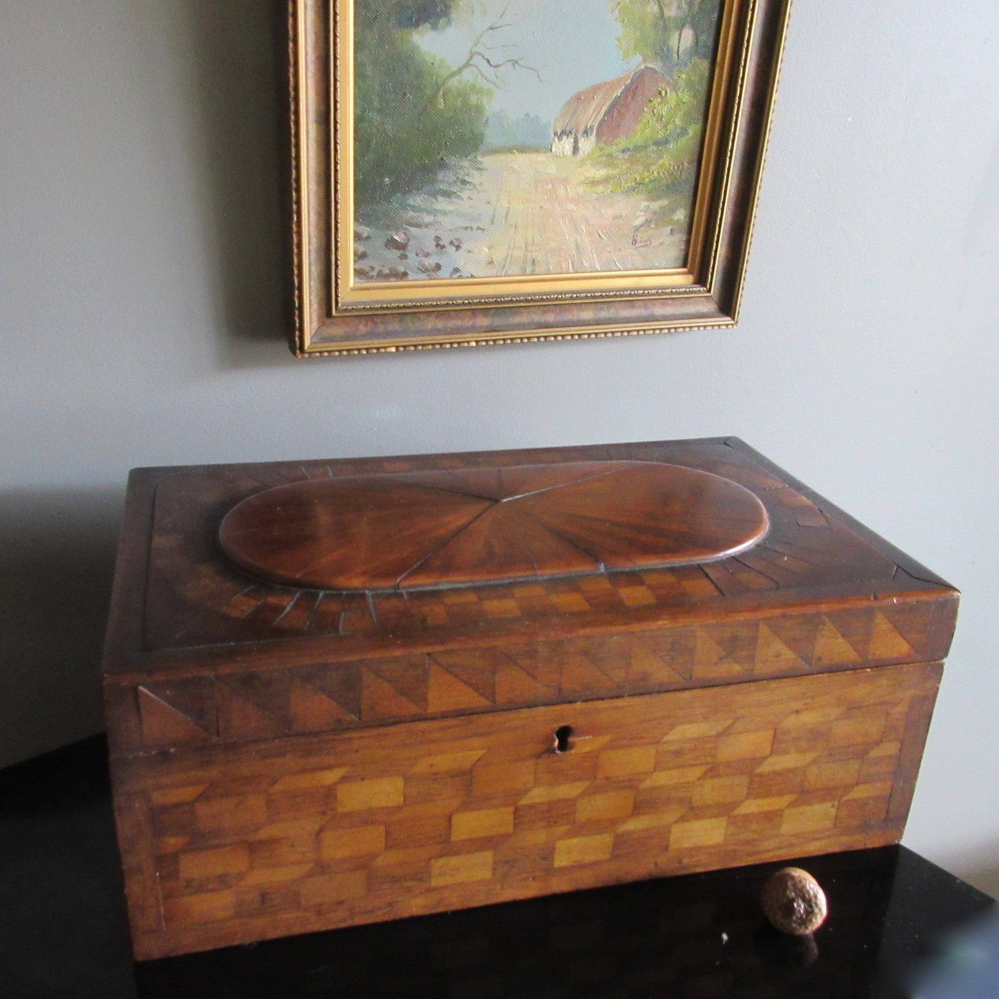 19th Century Inlaid Marquetry Wooden Box