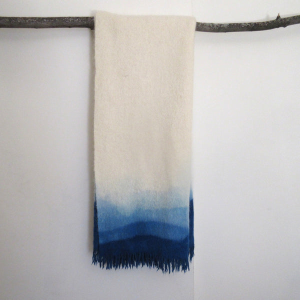 Vintage Dip Dyed Wool Mohair Blanket Throw- Blue