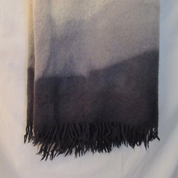 Vintage Dip Dyed Mohair Blanket Throw Gray