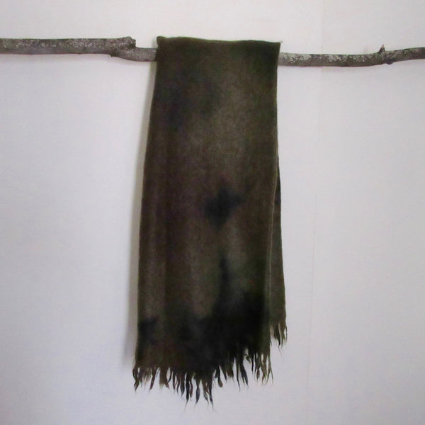 Vintage Over Dyed Mohair and Wool Throw Greens