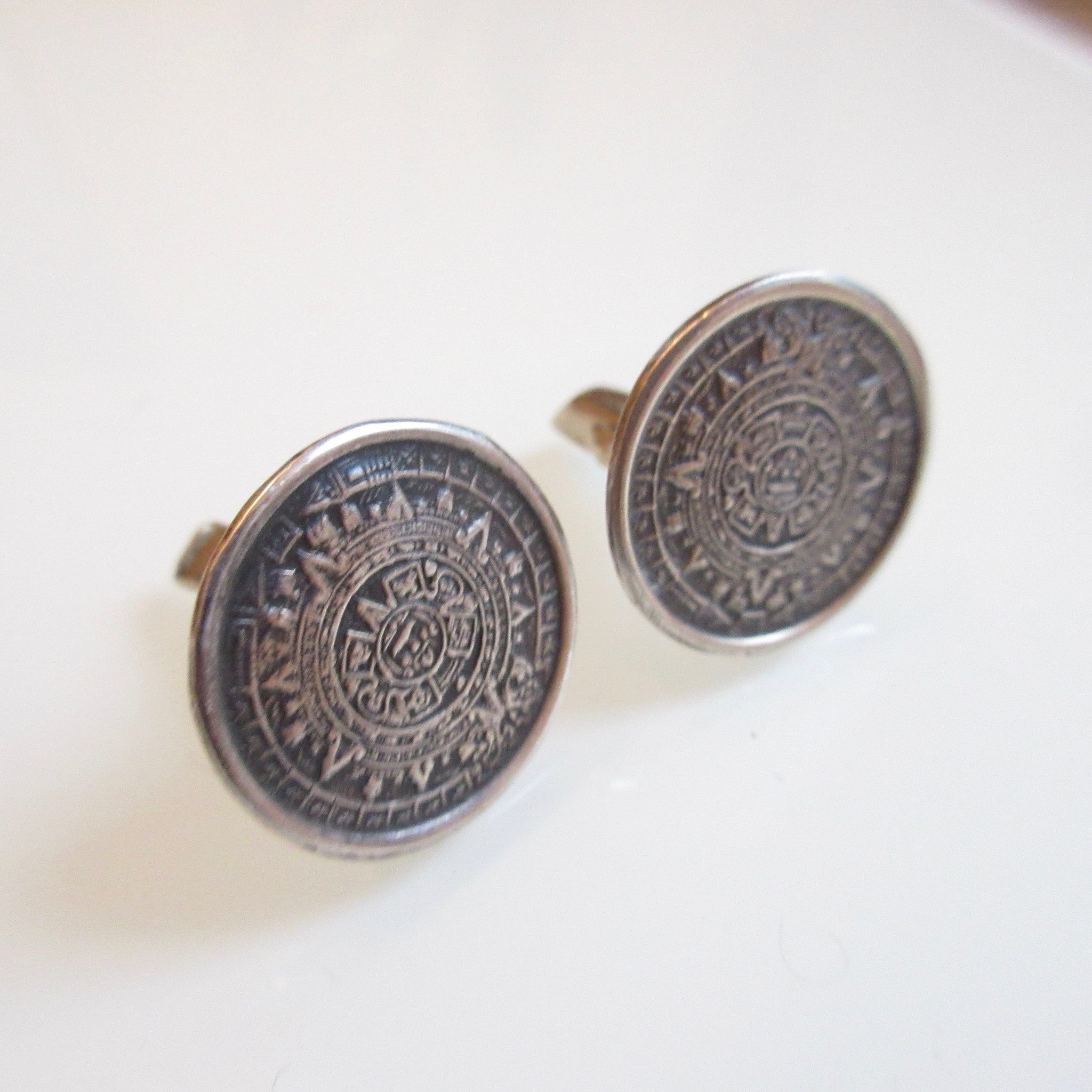 Vintage Aztec Sterling Silver Cuff Links