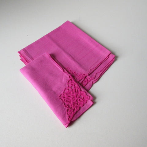 Vintage Linens Dyed Pink