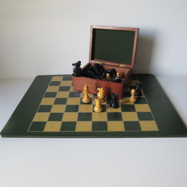 Antique wooden chess set and board