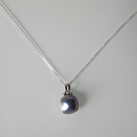 Mabe Blue Pearl Pendant on Sterling Silver Chain 20""